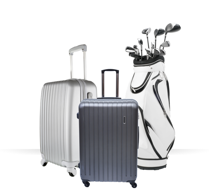 ship luggage and golf clubs